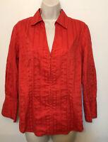 Coldwater Creek Medium Shirt Red Textured 3/4 Sleeve Full Zip Collared V-Neck