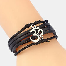 A Black/Brown Leather Bracelet With OM/AUM Symbol Yoga Charms Bangle For Men