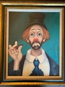 RED SKELTON CLOWN WITH CIGAR PAINTING 1972 Signed Series 2 LIMITED EDITION 16x20