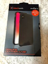 Blackweb Genuine Leather Black Case IPhone X/ XS Compatible w/ wireless charging