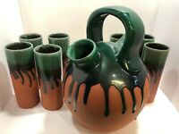 Drip Glaze Red Clay Pottery Southwestern Gargoulette with Tumblers