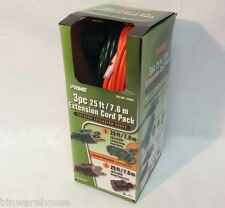 NEW PRIME EXTENSION CORD OUTDOOR Indoor COMBO PACK 3PC X 25FT CORD PACK 3 Outlet