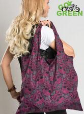 Hair Glove® Tote Bag Pink & Black Skull Paisley 45000 Reusable Lightweight