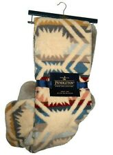 Pendleton beige / taupe Sherpa to Fleece Aztec reversible Blanket throw 50 x 70