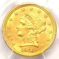 1860-S Liberty Gold Quarter Eagle $2.50 Coin - PCGS Uncirculated Detail (UNC MS)