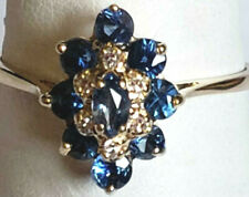 Classic VIntage 14k Yellow Gold Natural Sapphire Diamond Cluster Size 5.5 Ring
