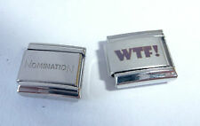 WTF 9mm Italian Charm + 1x Genuine Nomination Classic Link - WHAT THE ... text