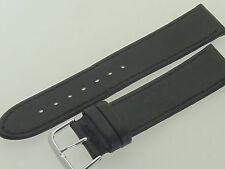 # l208 # Orologi Bracciale in pelle elastica morbida 18 mm XL nero con cucitura piatta