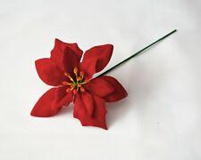 Artificial Velvet red Poinsettia Flower Picks Christmas swag garland wreath