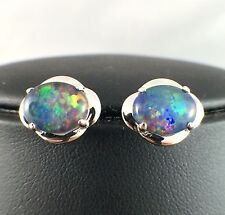 Unique Flower Design Australia Triplet Opal Stud Earrings 18k White Gold Plated