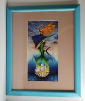 Mermaid and Sailfish Flowing Top of Pearl Seashell lithograph painting Signed