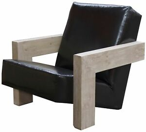 """40"""" W Randal Occasional Chair Reclaimed Douglas Fir Hand Crafted Leather Seat"""