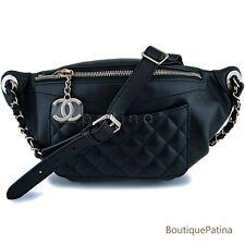 "NIB Chanel Black Calfskin ""Pocket"" Banane Fanny Pack Belt Waist Bag GHW 63713"
