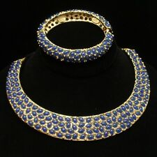 Kenneth Jay Lane Hinged Collar Necklace and Bracelet Set with Blue Stones