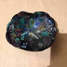 Vtg Murano Dino Martens Art Glass Bowl Tutti Fruiti Black Italian Mid-Century