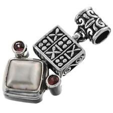 """1 1/2"""" WHITE MABE PEARL RED GARNET STERLING SILVER pendant"""