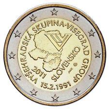 2 EURO SLOVACCHIA 2011 20 ANNI DEL GRUPPO DI VISEGRAD MOLTO RARA FDC UNC