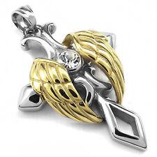 MENDINO Men's Stainless Steel Pendant Necklace Angel Wing Celtic Cross Gold Tone