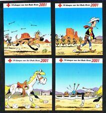 Belgique - Croix-Rouge - Lucky Luke - 4 Autocollants 2001.
