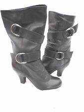 Unbranded Block Heel Patent Leather Casual Boots for Women