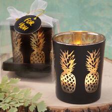 50 Black Glass Candle Holder Gold Pineapples wedding favors Bridal Shower Favor