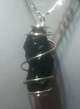tektite silver plated pendant w silver plated chain meteorite space rock A2 010