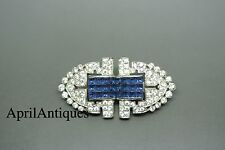 Vintage Art Deco blue invisible set CLIPMATES pat pend rhinestone Brooch