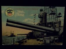 US Navy Battleship Fleet at Sea Sailors Quarter Deck Turret Guns Old Postcard