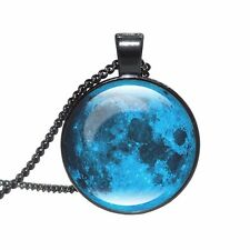 BLUE GALAXY FULL MOON PENDANT NECKLACE / Chain Jewellery Gift Idea Space Lunar