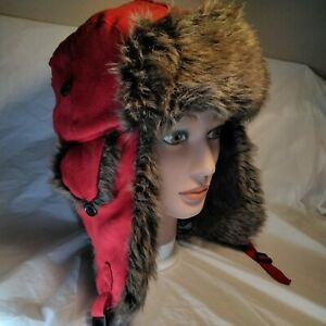 Relativity Winter trapper ear flap Hat Unisex Faux Fur Flap Red With Brown Fur