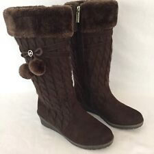 Michael Kors Kendall Update Brown Cable Knit Boots W/Pom Poms Size 5