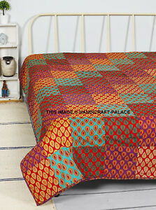 Large Cotton Traditional Patchwork Blanket Indian Home Chair / Sofa / Bed Throws