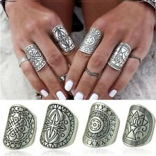 4-Piece Ring Set, Tribal Ethnic Statement Bohemian Boho Hippie Style Jewelry
