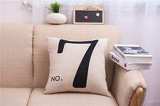 Pillowslip Linen black Number 7 Throw Pillow Case Cushion Cover Home sofa