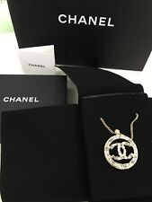 New Auth CHANEL 2018 CC Circle Pearl Green Enamel Necklace LIMITED Edition