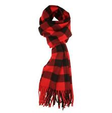 Fashion Unisex Warm Winter Scarf Plaid Check Shawl with Tassel Red 165*30cm