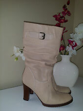 Aldo (Italy) Stylish Ivory Leather Pull On Mid-Calf High Heel Boots Sz. 38 (7,5)