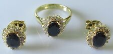 14ct gold Australian oval sapphire multi diamond cluster ring & stud earring set