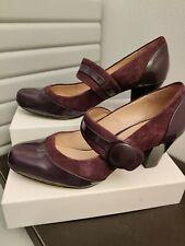Clarks Mary Jane Purple Patent Shoes  Cuban Heel  Sz 7.