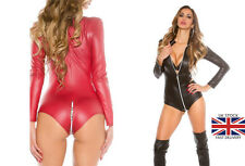 Leather Look Mini Dress Pvc Wet Look Clubbing Party RED Black Crotchless Bondage