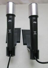 Vintage Lot of 2 SD Microphones with Plastic Stands Black Japan