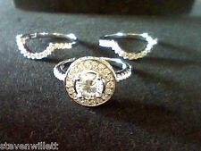 Pc Ring Set With Guards Sz 9 4.00 Ctw Lcs Diamond Halo Wedding Engagement 3