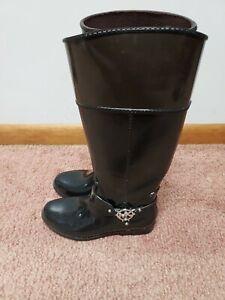 Michael Kors Fulton Black Rubber Harness Rain Boots Womens Size 8M