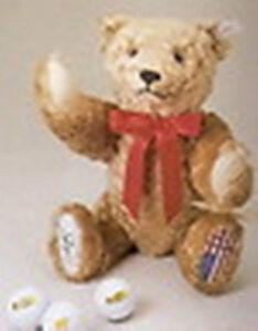 "STEIFF ""JACK NICKLAUS BEAR-GOLDEN BEAR"" EAN 665943 COMES WITH 3 GOLF BALLS"