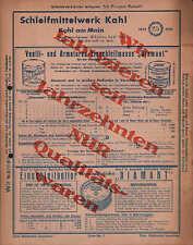 KAHL am Main, Werbung 1935, Schleifmittel-Werk Kahl