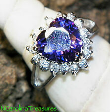 14K WHITE GOLD FILLED RING HEART CUT AMETHYST WHITE TOPAZ ACCENTS SIZE 7.75