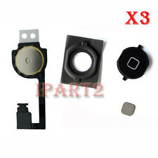 3x Home Menu Button Cap with Rubber Gasket and Flex Cable for iPhone 4S (Black)