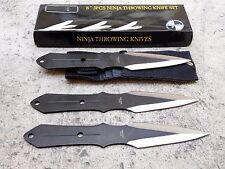 "3 Piece 8"" Black Silver Ninja Tactical Combat Throwing Knife Set Carrying Case"