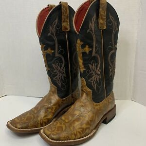 Macie Bean Women's Cowgirl Western Boots Leather  Black Brown Square Toe - M9004