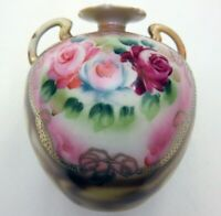 Vintage Nippon Round Vase w/ Handles, Hand Painted Roses Floral Gold Gilded Bead